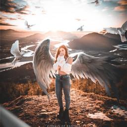 madewithpicsart madebyme picsart instagram art artist surreal surrealism women female girl lady beautiful wings birds bird flying floating fly womenpower girlpower concept nature landscape sunrise freetoedit