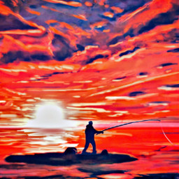 freetoedit madewithpicsart remixit fishing fisherman sea water waves nature ocean sky clouds orangesky sunset horizon colorful relax peace loneliness