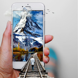 ontheroad traintracks clouds bluesky travelling mountainscape snow birds smartphone freetoedit