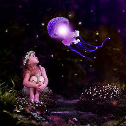 justadreamaway jellyfish littlegirl garden nighttime flowergarland flowers freetoedit