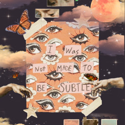 orange moon aesthetic clouds sparkles eyes butterfly collage freetoedit