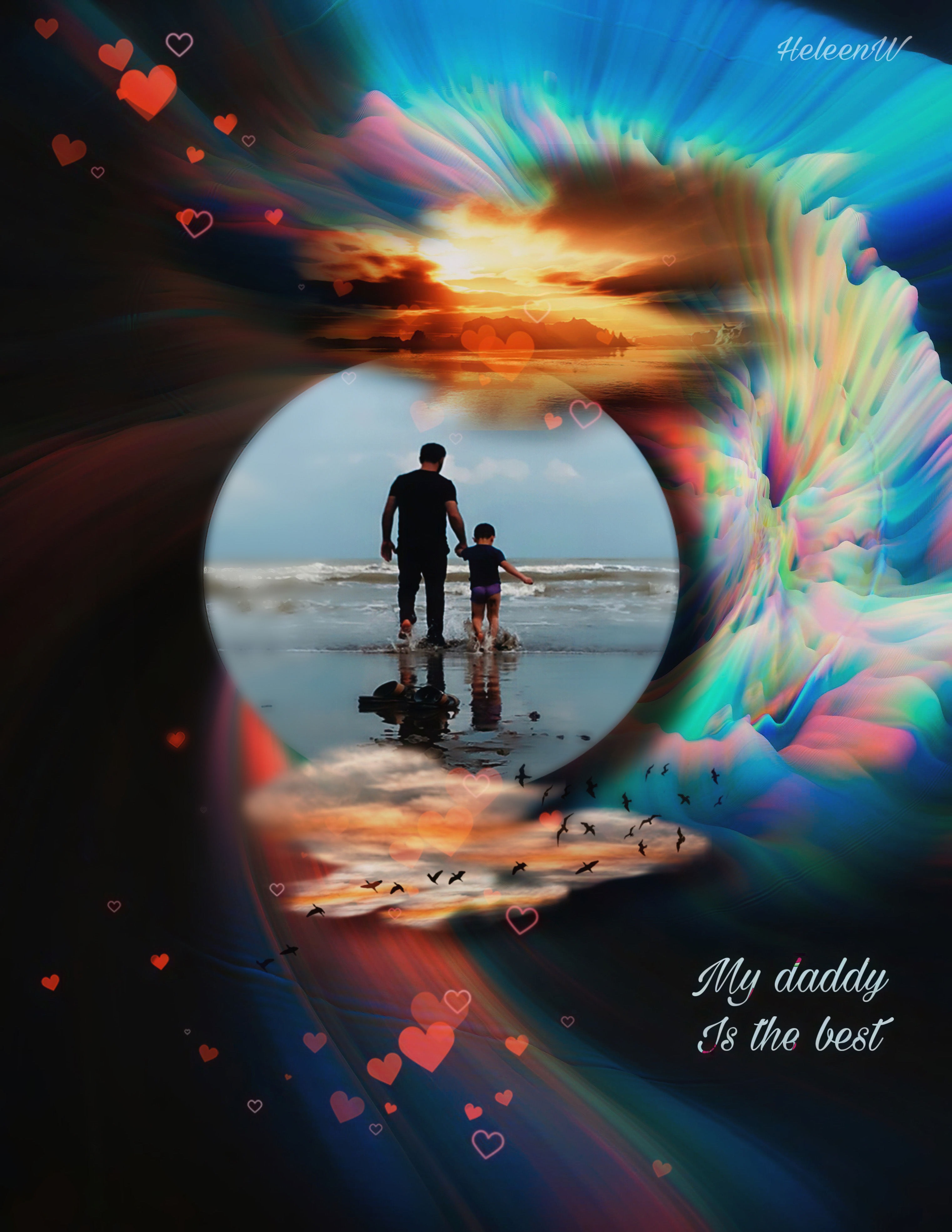 #fathersday #fantasy #imagination #dad #daddy #littlechild #walking #ocean #colorful #madewithpicsart #picsarttools #interesting #nature #myedt #myart #mys