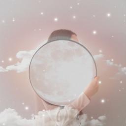 moongirl clouds spakles moon stars beigeaesthetic ircgirlwithamirror girlwithamirror freetoedit
