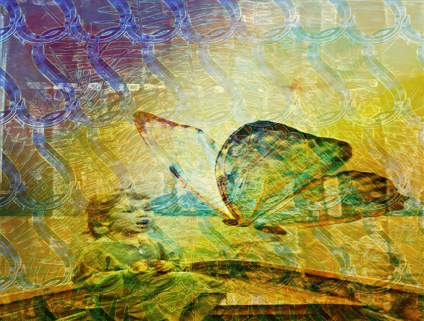 #sfghandmade #backgrounds #patterns #girlwithbutterfly #butterfly #goldcolors #blues #digitalart #hazy #picsarteffects