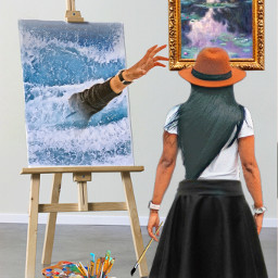 reachinghandsimageremixchallenge thedrowning painter art painting femaleartist ocean water handreachingout freetoedit