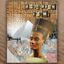 nobbscreative egypt ancient ancientegypt paris france louvre modern collage newspaper lineart queen nefertiti queennefertiti hieroglyph hieroglyphics graffiti flowers wildflowers freetoedit unsplash modernart