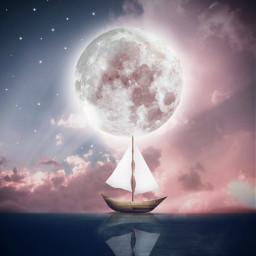 freetoedit background backgrounds sky pinksky ocean boat araceliss moon night be_creative myedit editedbyme