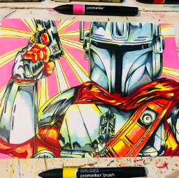 themandalorian starwars nostalgic art drawing markers new