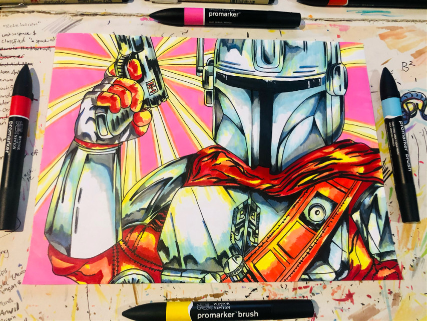 #themandalorian #starwars #nostalgic #art #drawing #markers #new