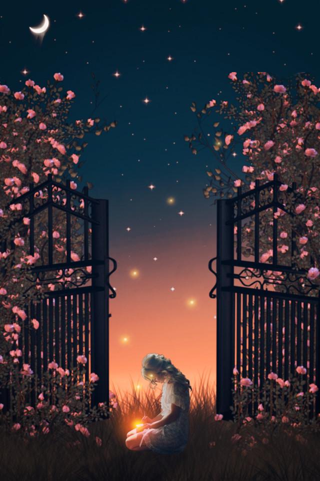 #girl #madewithpicsart #night #starsbackground #dreamlike #surrealism