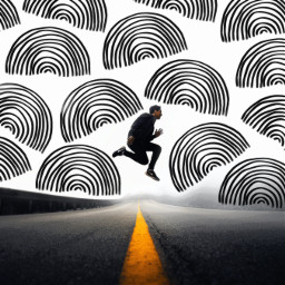 challenge guy jumping jump leapinh road street blackandwhite black white yellow simple doodle drawing semicircle rainbowshape fade distance curve curves rcdoodlerainbows doodlerainbows freetoedit