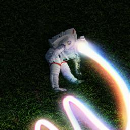 astronaut lying ground lightning light stripe rainbow grass nature outdoor madewithpicsart remixit freetoedit icyx