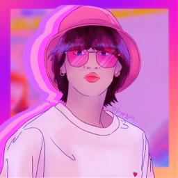 miya miyauchi miyauchiharuka harukamiyauchi gwsnmiya gwsn girlsinthepark girlsintheparkmiya gwsnfanart miyafanart kpopfanart fanart kpop aesthetic vibrant colorful pink purple yellow orange blue teal lilac white