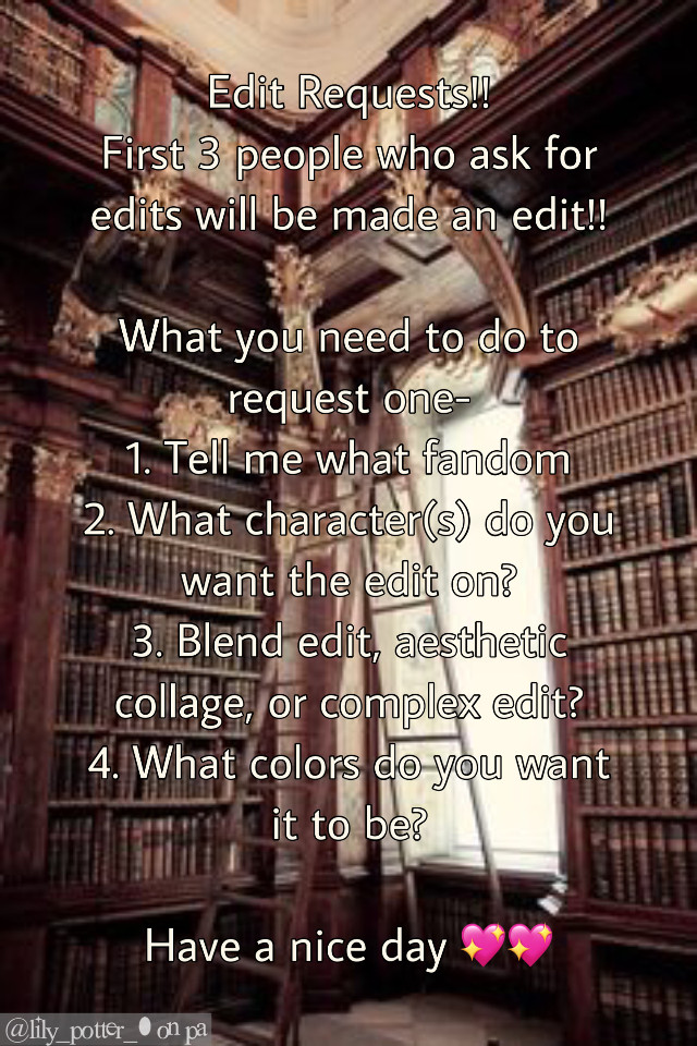 Edit requests!! Make sure to keep it in a fandom that I am in (i can also do celebrity edits)  #editrequests