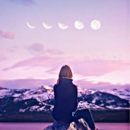 moon sky pink purple person girl beautiful prettygirl rocks mountains like follow m freetoedit