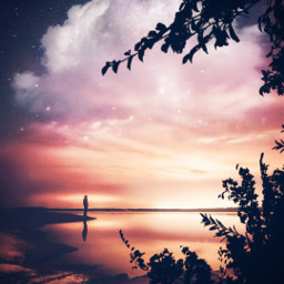 freetoedit surrealistic myedit surreal night silhouette light moonlight araceliss sky clouds cloud reflection landscape
