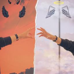 hell paradise devil angel hands remixed freetoedit ircreachinghands reachinghands