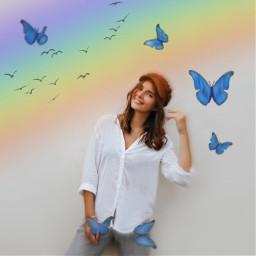 arcoiris pajaritos mariposas freetoedit doodlerainbows