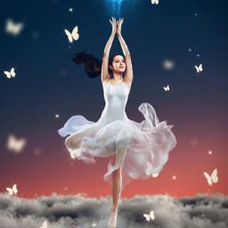 freetoedit fantasy light surreal myedit girl araceliss madewithpicsart be_creative creativity clouds sky butterfly butterflies