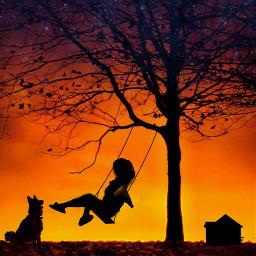 thebeautyinhaze sunsetswing womanonswing dog silhouettes house tree autumnvibes ircthebeautyinhaze freetoedit
