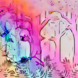 sfghandmade freetoedit background pastelcolors birds pinkbirds trees forest picsarteffects