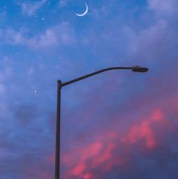 moon stars sunset lamp freetoedit