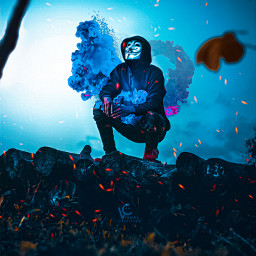 followmeplease mask smoke blue sky blur isl flames followme freetoedit