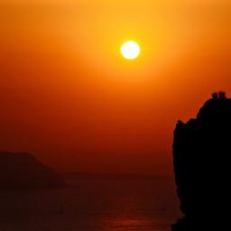 sunset sun red orange fire white light dark shadows ocean sea water sunrise island ship black photography goldenhour landscape aesthetic freetoedit