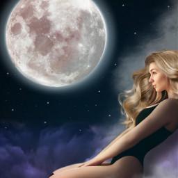 freetoedit surreal sky woman clouds cloud myedit fantasy moon creativity araceliss