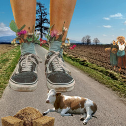 giant surrealistic feet bigfoot countryside freetoedit