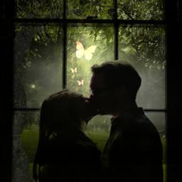 freetoedit mirpar02 simpleedit romantic firstkiss cute butterflies sweet couple