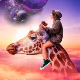 challenge desafio allstar girafa giraffe nuvens clouds girl menina purpleplanets planetasroxos fantasia fantasy sonhos dreams freetoedit ircstepbystep stepbystep