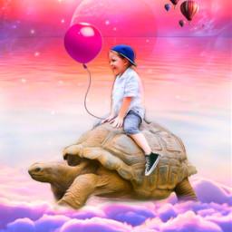 stepbystepimageremixchallenge abovetheclouds giantturtle littleboy children pinkballoon hotairballoons clouds sunrisesky galaxy planets water converseallstars fantasyart ircstepbystep freetoedit