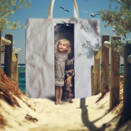 bag littlegirl sand beach tree forestbackground bluebackground aestheticwallpaper picsart freetoedit ircdesignthetotebag designthetotebag