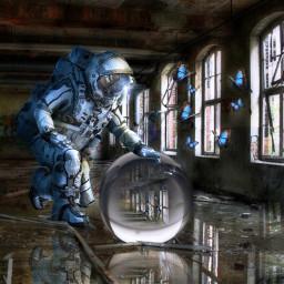 astronaut glasskugel fantasy schmetterling glass freetoedit