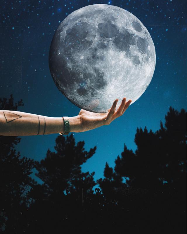 #freetoedit #moon #holding #surreal #moonlight
