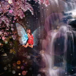 freetoedit picsart picsartchallenge challenge surreal waterfall fairywings neonwings lilies glitter lensflare photomanipulation ownedit bokeh plsvote ecbutterflywings butterflywings