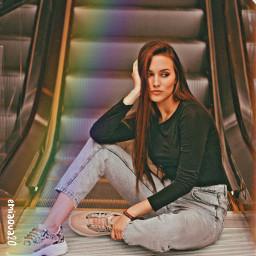 rainbow model portrait picart stairs elevator modelling pose sitting prettygirl remixedwithpicsart remix freetoedit
