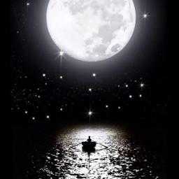 freetoedit picsart picsarttool ftestickers myedit editbyme surreal surrealedit sea nightsea moon moonlight stars waves ship boat ferryboat silhouette