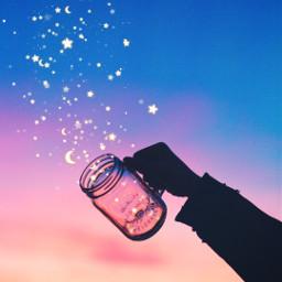 jar sunset colorsplash pink blue freetoedit