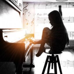 musicnotes lensflare blackandwhite piano girlplayingpiano freetoedit srcmusicalnotes musicalnotes