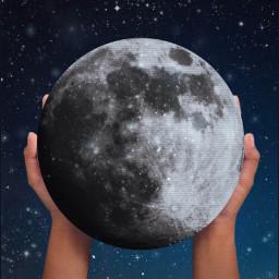 moon hands sky holding night stars freetoedit