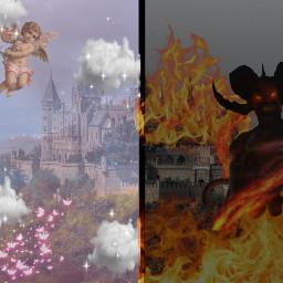 hell heaven hellcastle heavencastle castle demon devil angel goddes lol idkwhatimdoing idkwhatthisis idkgotbored freetoedit