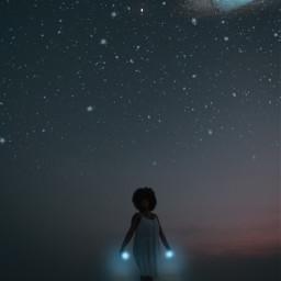 woman girl power powerful galaxy blue sky star edit newedit myedit art interesting beach ocean picsart freetoedit