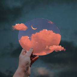 sky heaven clouds moon glitter mirror hand darksky aesthetic aestheticedit aestheticwallpaper aesthetictumblr sweet orange stars vaporwave beautiful remixit background imagineabrighterreality galaxy aestheticsky colorful makeawesome freetoedit