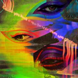 freetoedit mirpar02 myedit somethingdifferent abstract popart retro vaporwave eyes glitch texteffects srctrendyeyestickers trendyeyestickers