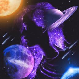 freetoedit girl galaxy planet