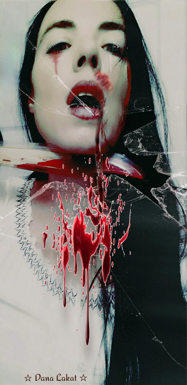 Kiss me deadly© #art #darkart #blood #conceptualphotography #portrait #portraitphotography #artist #danalakat