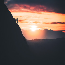 picsart freetoedit remixit sunset sunrise sun clouds glow sky stars night moody dark light color background view png silhouette travel rocketship spaceship deer hike waterfall