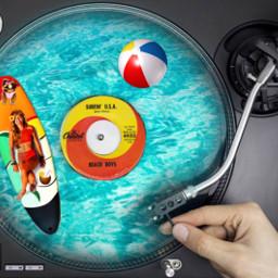 surfsupimageremixchallenge surfinusa turntable recordplayer vinyl beachboys surfboard beachball ocean water cutedogs tropicaldrink ircsurfsup freetoedit